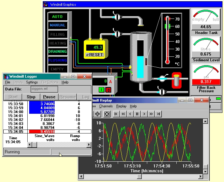 Data acquisition software: Replay, Graphics and Logger
