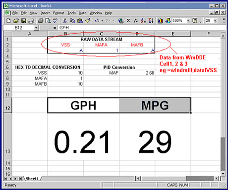 Using Excel to monitor fuel-consumption in real-time