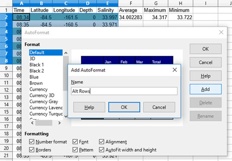 Setting Spreadsheet autoformatting