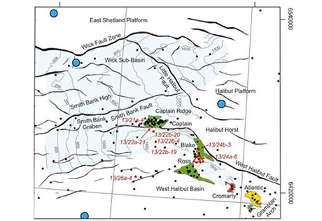 Map of rock core sample locations