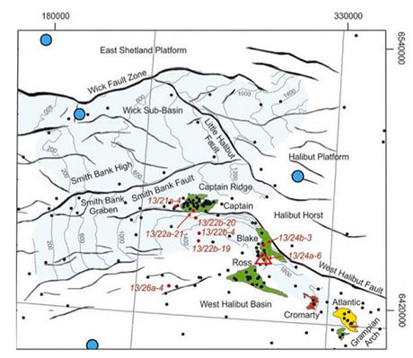 Map of core sample locations