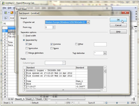 Data acquisition with Open Office Calc