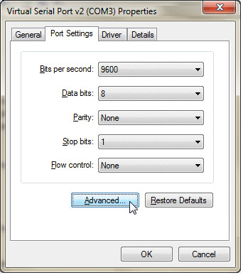 Make sure the USB-Serial converter has the same settings as your instrument